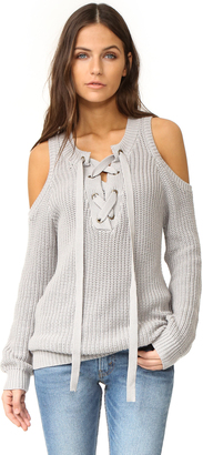 J.O.A. Cold Shoulder Lace Up Sweater $73 thestylecure.com