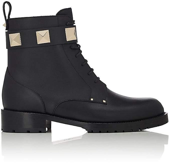 Valentino Garavani Women's Lock Leather Combat Ankle Boots