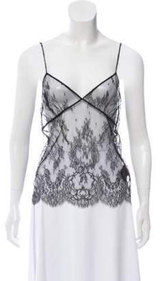 Saint Laurent Semi-Sheer Lace Top Black Semi-Sheer Lace Top