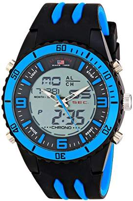 U.S. Polo Assn. Sport Men's US9478 Two-Tone Sport Watch with Black and Blue Silicone Band