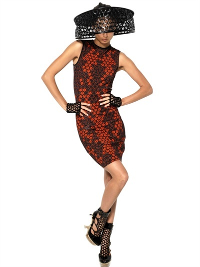 Alexander McQueen Lace Print On Viscose Jersey Dress