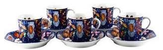 Hermes 12-Piece Marqueterie de Pierres d'Orient et d'Occident Demitasse Cup & Saucer Set