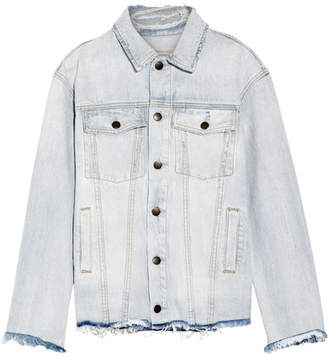 Current/Elliott - The Vintage Boyfriend Trucker Distressed Denim Jacket - Light denim