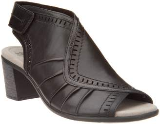 Earth Leather Peep Toe Heeled Sandals- Steph Moza