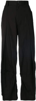Y's inverted pleat wide leg trousers