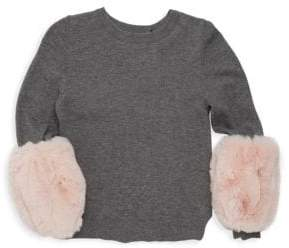 Milly Minis Little Girl's Faux Fur Pullover