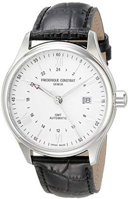 Frederique Constant Men's 'Classics' Dial Black Leather Strap GMT Swiss Automatic Watch FC-350S5B6