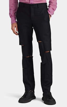 Comme des Garcons Men's Slashed Wool-Blend Trousers - Navy
