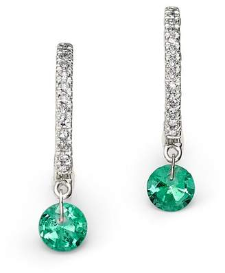 Meira T 14K White Gold Emerald and Diamond Drop Hoop Earrings