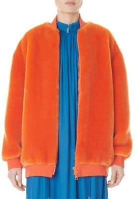 Tibi Zip-Up Faux Fur Track Jacket