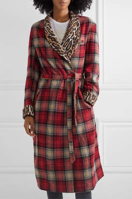 R 13 Leopard-print Crepe-trimmed Checked Wool-blend Coat - Red