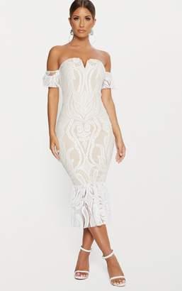 PrettyLittleThing White Bardot Lace Frill Hem Midi Dress