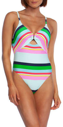 Trina Turk Deco Stripe High-Cut One-Piece Swimsuit