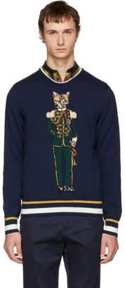 Dolce & Gabbana Navy Feline Prince Sweater