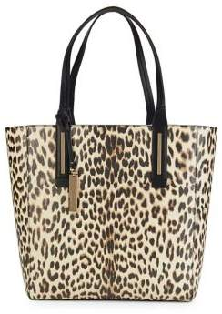 Vince Camuto Fran Leopard Print Leather Tote