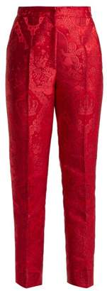 Dolce & Gabbana Mid Rise Cherub Jacquard Trousers - Womens - Red