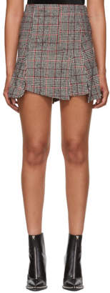 McQ Black and Red Cut Up Check Miniskirt