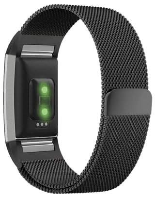 "Fitbit Moretek Milanese Loop Stainless Steel Replacement Accessories Magnetic Metal Small Bands for Charge 2 ( 5.5-6.7"") for Charge 2"