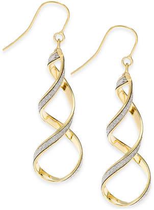 Italian Gold Glitter Twist Drop Earrings in 14k Gold
