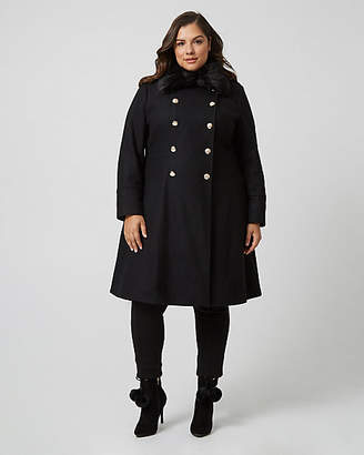 Le Château Melton Wool Fit & Flare Coat with Faux Fur Collar