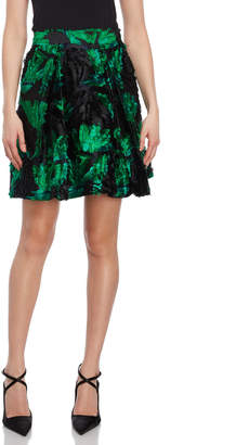 Milly Floral Fil Coupe Flared Skirt