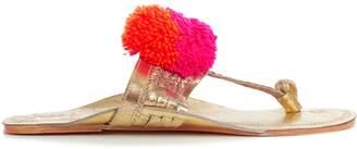 Figue Leo pompom-embellished leather sandals