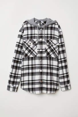 H&M Hooded Shirt Jacket - White
