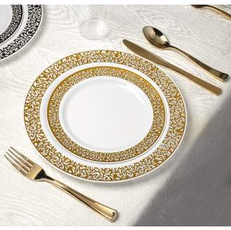 Kaya Collection - Lace Gold Disposable Plastic Dinnerware Party Package - 60 Person Package - Includes Dinner Plates, Salad/Dessert Plates, Gold Cutlery and Tumblers