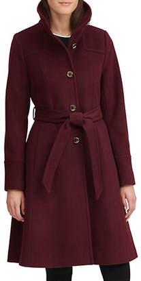 Karl Lagerfeld PARIS Belted Wool-Blend A-Line Coat
