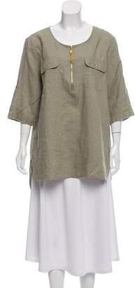 Ellen Tracy Linen Short Sleeve Top