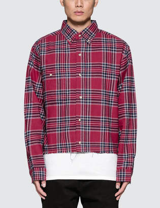 Matte Perle Fake Cropped Flannel Shirt