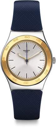 Swatch Women's Blue Push YLS191 Silver Silicone Swiss Quartz Fashion Watch