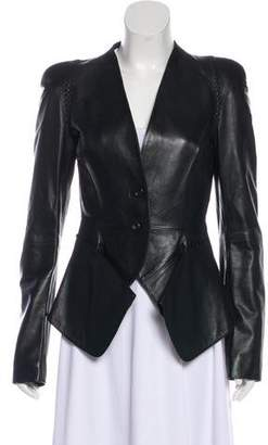 Alexander McQueen Whip Stitch Embellished Leather Jacket
