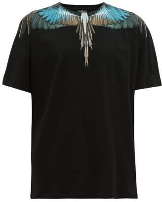 Marcelo Burlon County of Milan Eagle Wings Print Cotton T Shirt - Mens - Black Blue