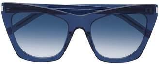 6487e91885 at Farfetch · Saint Laurent Eyewear Blue Kate Acetate Sunglasses