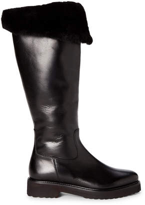 Luca Grossi Black Shearling-Lined Leather Tall Boots
