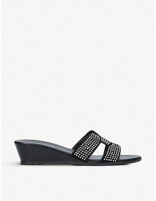Carvela Comfort Sade embellished suede wedge sandals