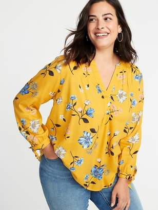 Old Navy Printed Tie-Cuff Plus-Size Blouse