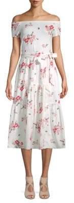 Rebecca Taylor Floral Off-The-Shoulder Dress