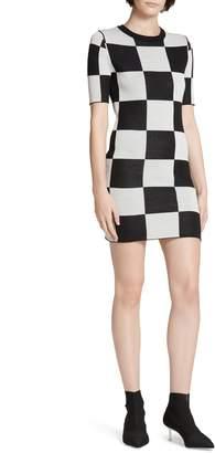 STAUD Omar's Checkerboard Knit Dress