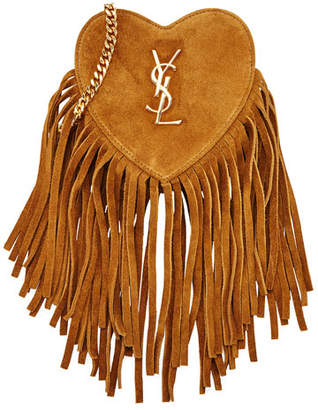 Saint Laurent Monogram Small Zip-Top Fringe Heart Bag $895 thestylecure.com