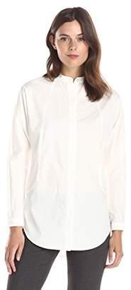 Lark & Ro Women's Long Sleeve Mandarin-Collar Poplin Tunic Top