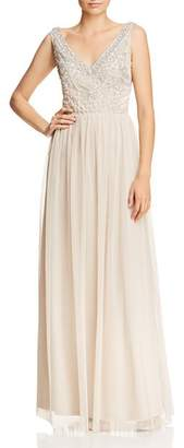 Adrianna Papell Beaded-Bodice V-Back Gown