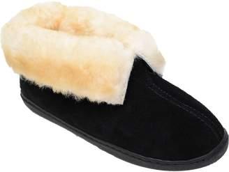 Minnetonka Women's Sheepskin Pull-On Black Ankle Boot Slippers