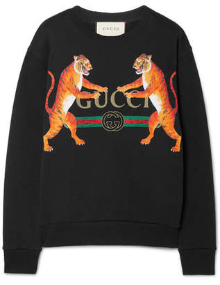 Gucci Oversized Printed Cotton-jersey Sweatshirt - Black
