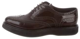 Prada Wingtip Pointed-Toe Oxfords