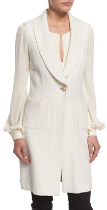 St. John Collection Yani Knit Shawl-Collar Vest, Alabaster $1,695 thestylecure.com