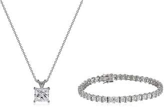 Platinum Plated Sterling Princess-Cut Swarovski Zirconia Necklace and Tennis Bracelet Jewelry Set