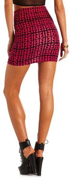 Charlotte Russe Geo Print Cotton Mini Skirt