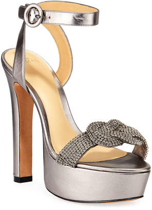 Alexandre Birman Vicky Metallic Crystal Platform Sandals